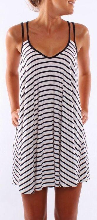 dress black and white dress stipes summer dress popular dresses summer blonde hair white black