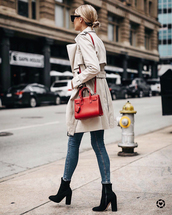coat,tumblr,trench coat,denim,jeans,blue jeans,boots,black boots,ankle boots,bag,red bag
