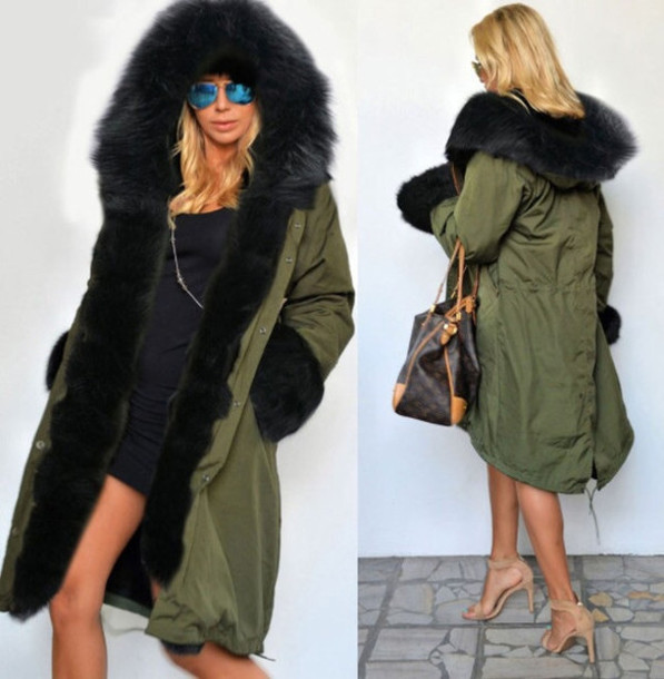 Coat: parka, green, khaki, black, fur hood, cuffs - Wheretoget