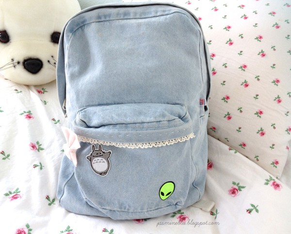 bag jeans alien denim light denim bookbag backpack patch pastel bag patched bag backpack denim backpack totoro acid wash