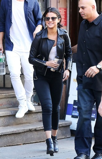 jacket selena gomez leather jacket casual skinny jeans ankle boots fashion leather pants shoes jeans and jacket