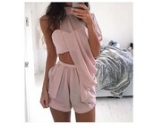 top,shorts,romper,light pink,light pink/peach,peach,two-piece,dress,blouse,pink,cute,sexy,party,cute outfits,party outfits,chiffon,tumblr,shirt,tumblr clothes,white dress,short dress