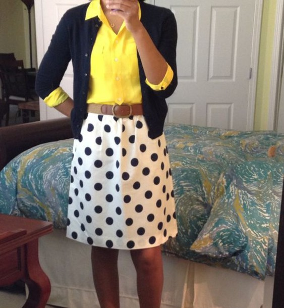 skirt polka dot skirt black and white yellow top