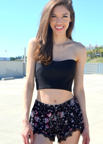 shorts floral flowered shorts bustier tube top black top