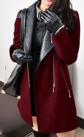 coat,burgundy,burgundy coat,red,wine red,leather,black