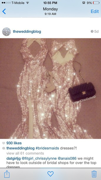 dress gown gold sequins rhinestones prom dress