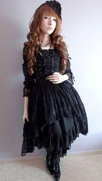 dress black dress black victorian gothic lolita goth