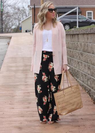 stylin in st. louis blogger sweater pants jewels bag sunglasses pink jacket floral pants spring outfits