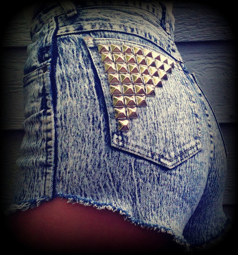 Acid Washed Vintage Levis High Waist Shorts Studs from Knee Deep Denim on Storenvy