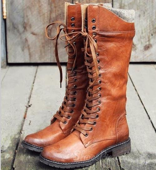comfortable brown lace up flat boots