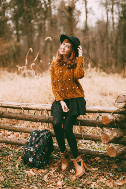 the clothes blogger hat rust cut out ankle boots knitted sweater mini skirt backpack