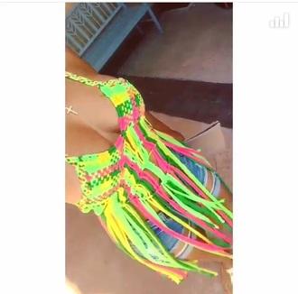 top multi colored fringed top fringe bikini top halter top