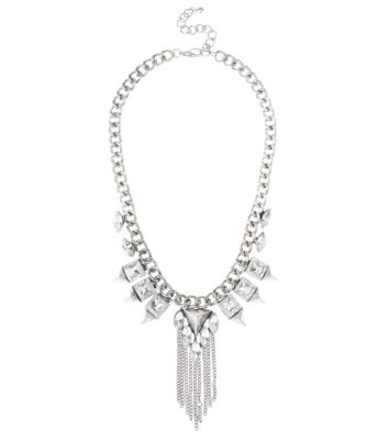 Silver Gem Chain Tassel Necklace