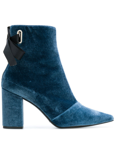Robert Clergerie velvet ankle boots women ankle boots leather blue velvet shoes
