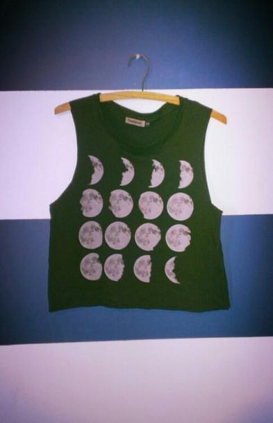 tank top moon lune lunes noir debardeur t-shirt women women femme