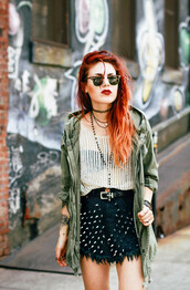 le happy,top,skirt,jewels,shoes,shorts,spiked,military style,sunglasses,necklace,blogger,rayban,choker necklace,mesh,parka,army green jacket