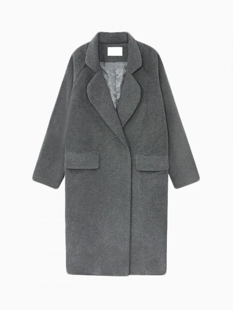 Deep Gray Longline Wool Coat | Choies