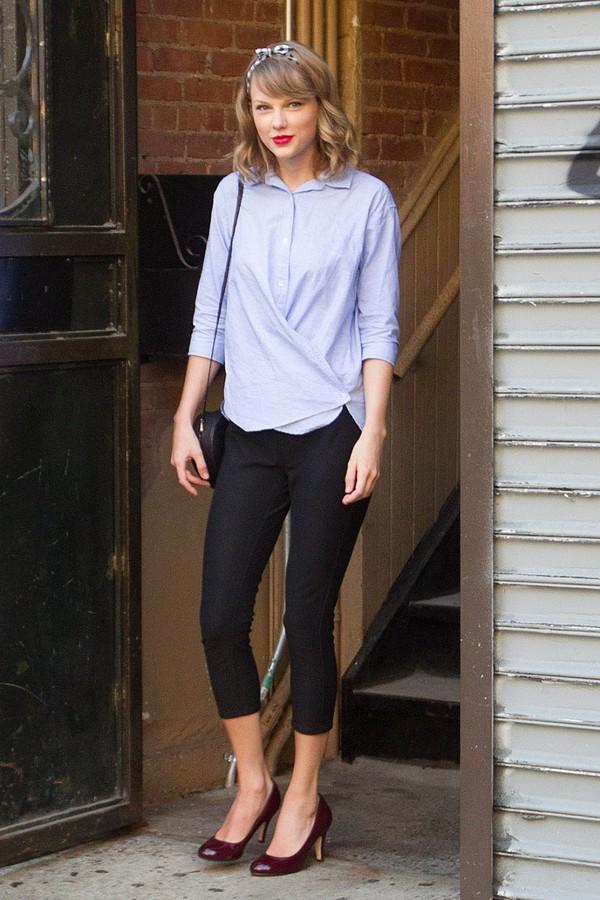 Pants Black Pant Red Heels Taylor Swift Blue Shirt