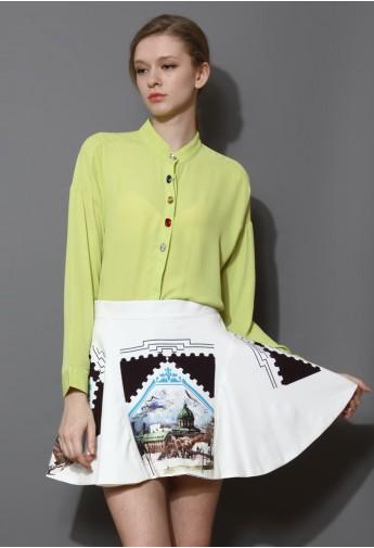 Scenic View White Skater Skirt - Retro, Indie and Unique Fashion
