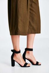 shoes,sandals,black sandals,block heels,block heel sandals
