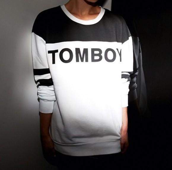 sweater white black fashion tomboy tomboy sweater tomboy shirt black and white