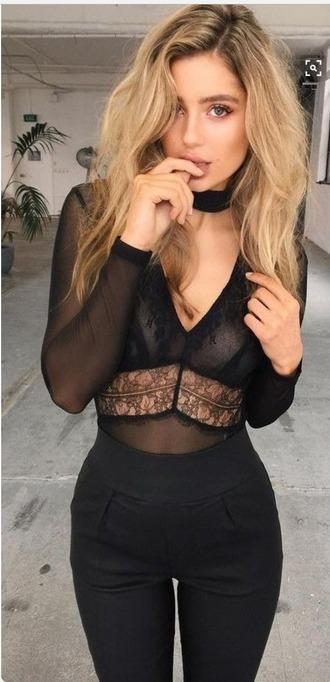 blouse black lace bodysuit mesh high rise shorts