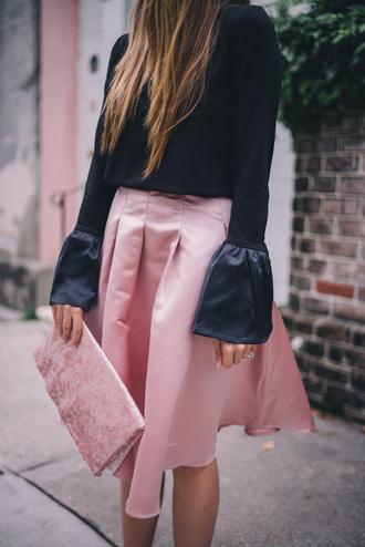 skirt tumblr pink pink skirt midi skirt top black top bell sleeves bag pink bag pouch