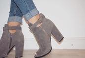 shoes,buckles,grey,suade,heels,zip,open toes,belt
