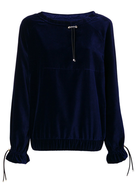 jumper women drawstring blue sweater