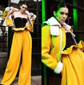 jacket,pants,bustier,high waisted,kendall jenner,kendall + kylie label,top,bodysuit,mustard