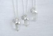 jewels,silver,necklace,spiritual,dipped,crystal,stars,clear quartz,real,quartz