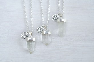 jewels necklace silver spiritual dipped crystal quartz star clear quartz real quartz