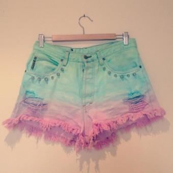 Pastel dip dye studded high waisted Armani shorts