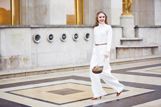 kayture blogger white pants wide-leg pants pants shoes bag