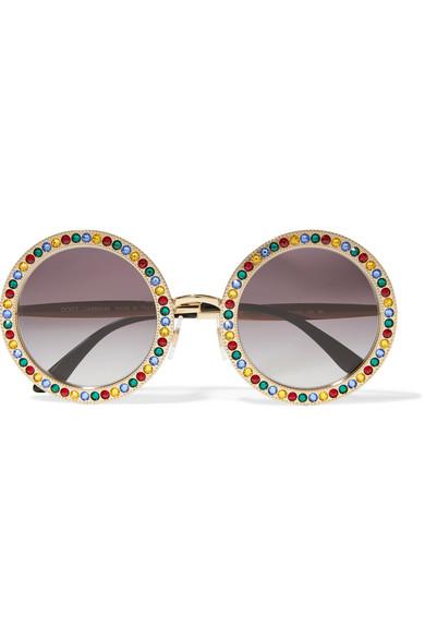 8cf400446aa Dolce   Gabbana - Crystal-embellished round-frame gold-tone ...