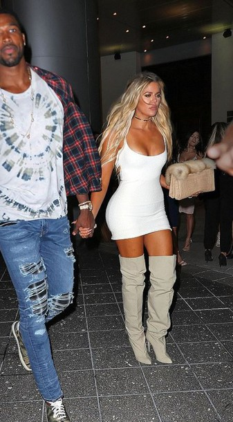 the latest f53df 531b3 dress boots over the knee boots khloe kardashian yeezy white dress mini  dress boho dress kardashians