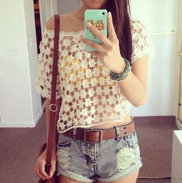 shirt summer flowers bikini shorts belt summer outfits yellow white