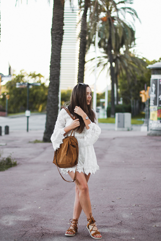 kolorowa dusza blogger jumpsuit bag jewels sunglasses shoes romper white romper brown bag sandals summer outfits