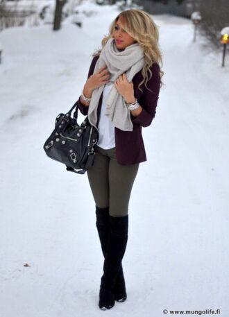 jacket blazer winter outfits leggings black knee high boots