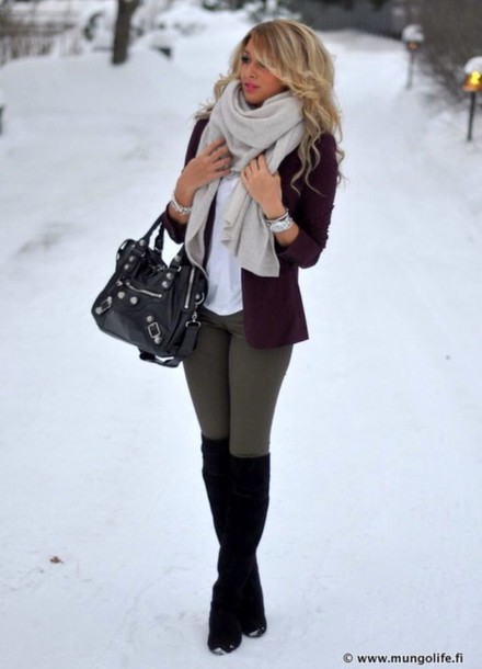 Jacket Blazer Winter Outfits Leggings Black Knee High Boots Wheretoget
