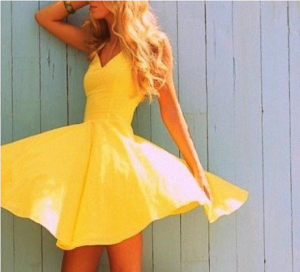 dress yellow yellow dress flowy cocktail dress yellow summer dress sundress flowwy yellow top summer dress skater skirt flirty dress bright vneck dress yellow flirty dress summer
