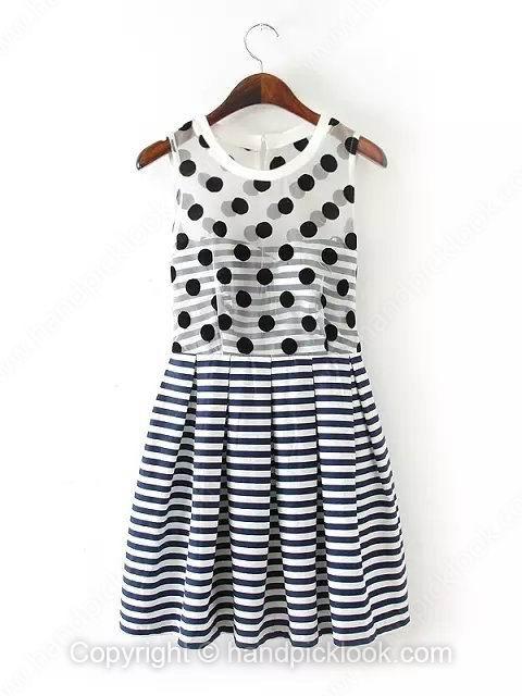 Navy Round Neck Sleeveless Polka Dot Dress - HandpickLook.com