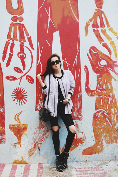 style scrapbook jacket shoes jeans sunglasses bag
