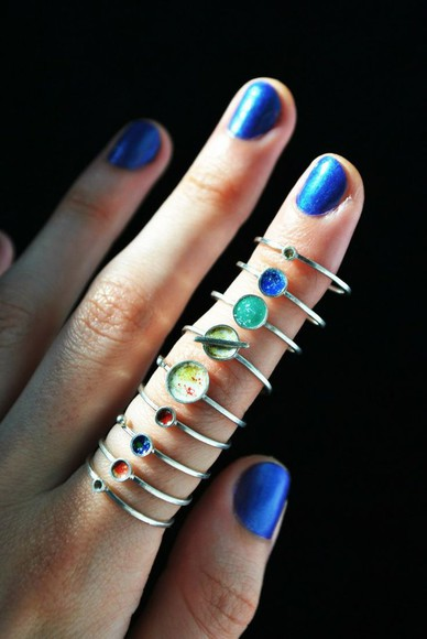 galaxy print jewels planets universe planet tumblr tumblr girl accessories Knuckle rings knuckle rings ring rings and tings pale grunge pastel goth pastel grunge