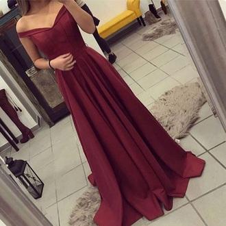 dress burgundy off the shoulder prom side slit