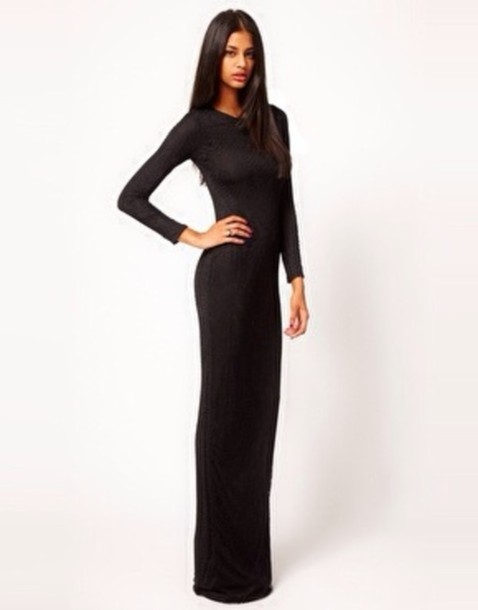 Dress: black, long sleeves, long sleeve dress, form fitting ...