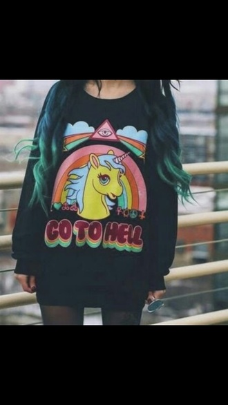 sweater hell satan goth pastel goth love help black horse pony unicorn satanic satan shirt unicorn shirt unicorn tee unicorns helpmefindthis