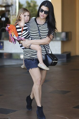 top striped top kourtney kardashian ankle boots