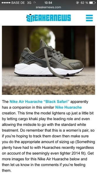 shoes nike huarache nikehuarache khaki cargo women