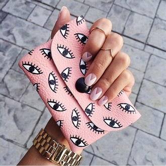 bag pink eye clutch wallet eyes pastel pink hipster jewels knuckle ring ring gold gold ring jewelry all pink wishlist cute funny purse eyeball cool nail art pink nails our favorite accessories 2015 galentines day negative space nail art pink purse with eyes on it